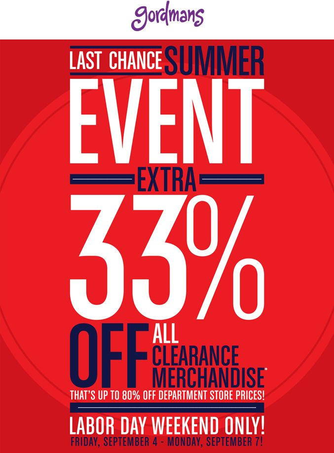 Pinned September 4th: Extra 33% off clearance this weekend at #Gordmans #coupon via The #Coupons App