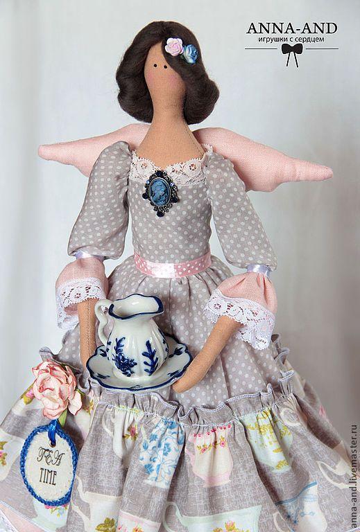 Феечка Tea-time (Великобритания) - серый, розовый, тильда, тильда кукла, тильда ангел