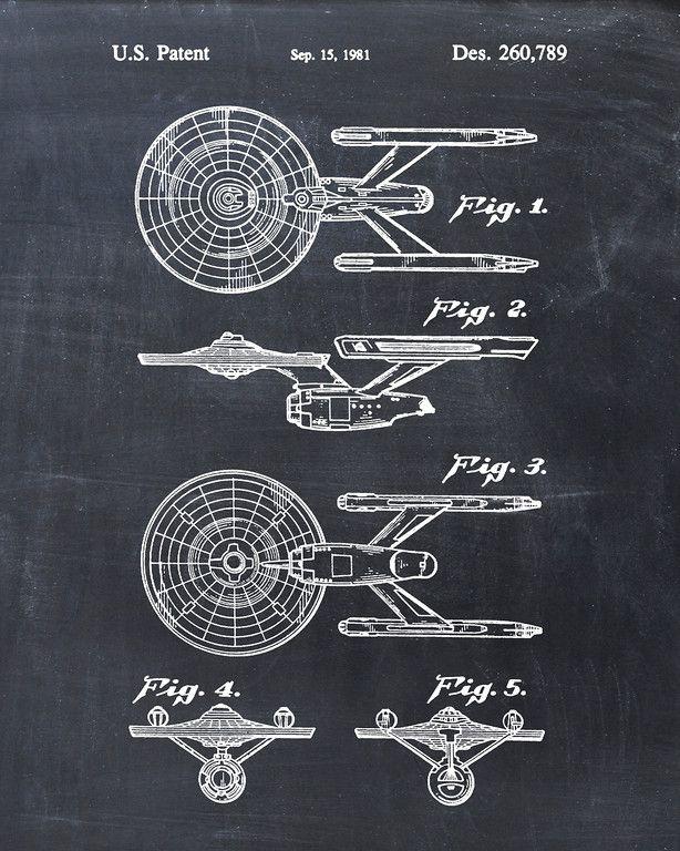 USS Enterprise Constitution Class Starship Star Trek Patent Print