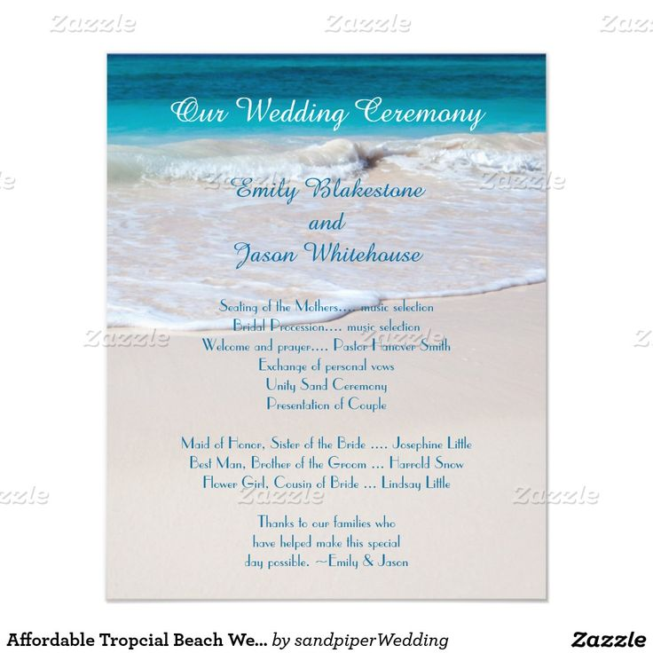 coastal vows affordable wedding program