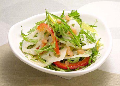 れんこんと水菜のサラダ明太子風味 (レシピNo.1519)|ネスレ バランスレシピ