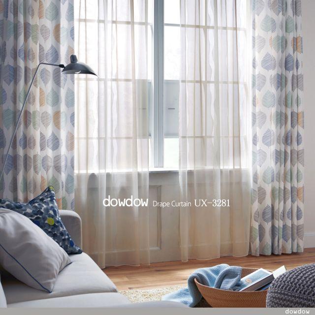 北欧 デザイン|モダンなリーフ・デザインのドレープカーテン&シェード【UX-3281】