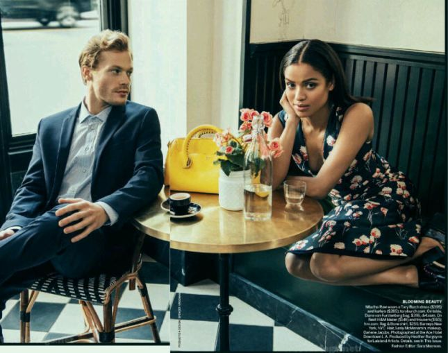 Gugu Mbatha-Raw and Sam Reid aww the look hes giving her cute...and oh he oh so fine