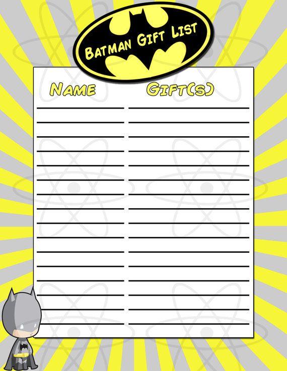 INSTANT DOWNLOAD Batman Baby Shower Gift List By AtomDesign