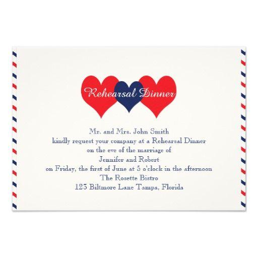 americana hearts wedding rehearsal 35x5 paper invitation card - Patriotic Wedding Invitations