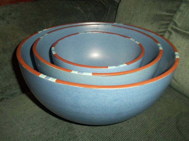 Dansk Mesa Blue Stoneware Mixing Bowls Portugal Set Of 3