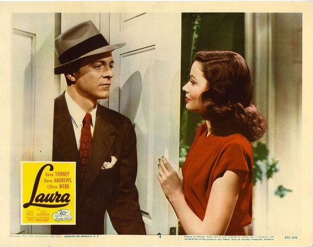 "Dana Andrews and Gene Tierney in ""Laura,"" 1944"