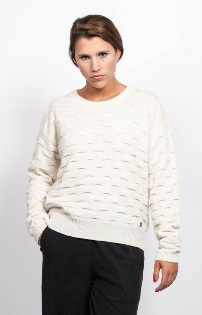 MARY KNIT dropped shoulders design featuring squared cut and a pursed detail throughout. #anglestore #sweater #knitwear #cream #pattern #basic #fashion #collection #simple