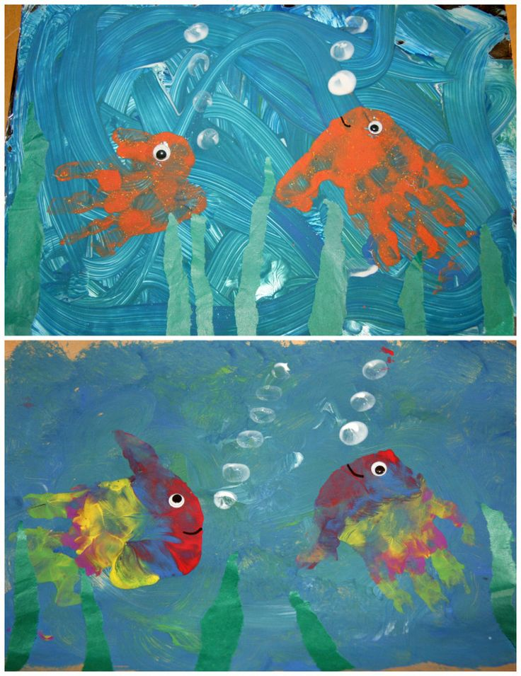 Hand-Print Fish Painting for our Ocean and Beach Themed Play