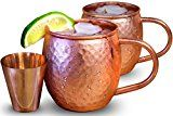 #8: Set of 2 Moscow Mule Copper Mugs with Shot Glass  Two 16 Oz Copper Moscow Mule Mugs  Solid Copper Hammered Mug  Copper Cups for Moscow Mules