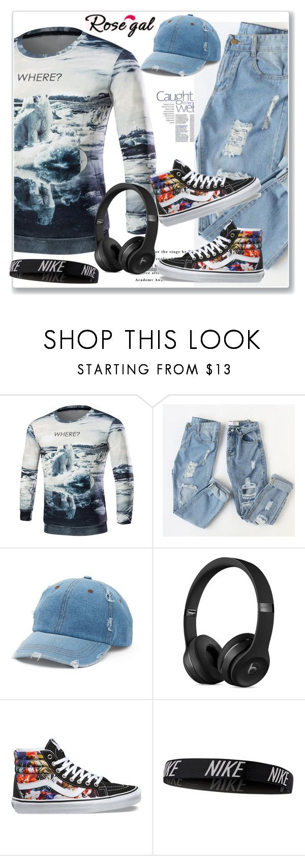 """""""3D Print Long Sleeve Sweatshirt"""" by lila2510 ❤ liked on Polyvore featuring Mudd, Vans, NIKE, men's fashion and menswear"""