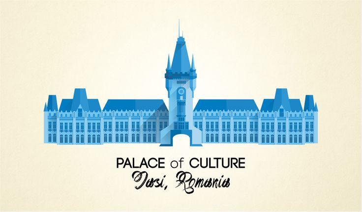 Palace of Culture, Iasi, Romania - flat design graphic play ‹ dedalis.ro