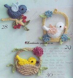 Luty Artes Crochet: Passarinho de crochê com gráfico птичка корзинка цветы
