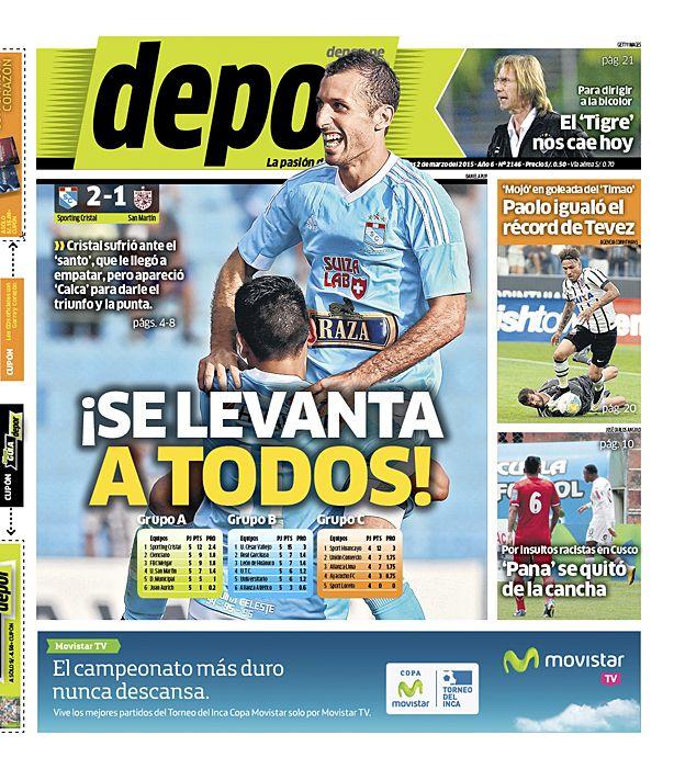 La Portada Impresa Depor del Dia 2015-03-02 del mejor diario deportivo del Peru y el Mundo en Depor.pe