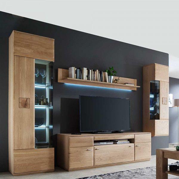 Wohnzimmer Anbauwand Vantria Aus Eiche Bianco 305 Cm In 2020 Wohnzimmereinrichtung Anbauwand Wandvitrinen