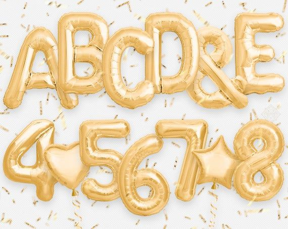 Gold Letters Numbers Foil Balloon Golden Confetti Png Etsy Photoshop Overlays Balloons Foil Balloons