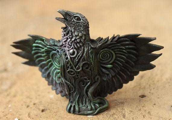 Raven totem fantasy sculpture figurine by DemiurgusDreams on Etsy