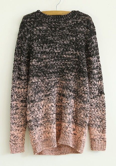 Pink Round Neck Long Sleeve Wool Blend Cardigans.