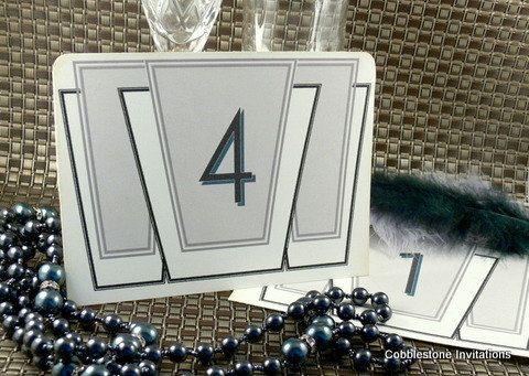 Table Number Cards wedding 1920s wedding  by CobblestoneInvites, $8.00