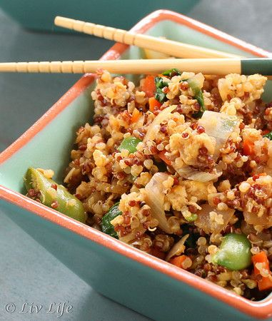 Asian Fried Quinoa: 4 c Quinoa, 1/2 lb chicken breast, 1 c peas & carrots, 1 white onion, 2 cloves garlic, 2 eggs, 3 T sesame oil, 1/4 c lite soy sauce