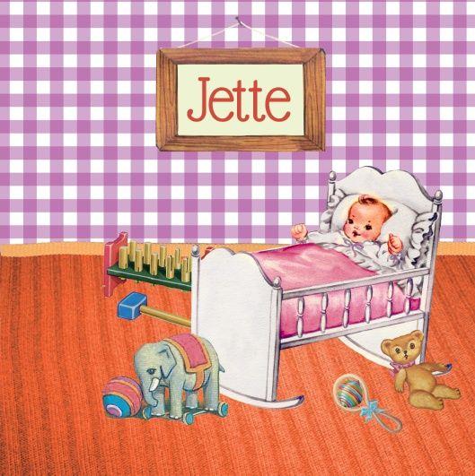 Geboortekaartje Jette - retro collage geboortekamertje van een babykamertje met nostalgisch speelgoed