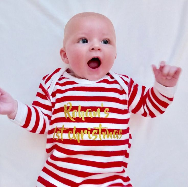 My 1st Christmas Romper first Christmas outfit baby Christmas outfit baby Christmas pyjamas baby Christmas pajamas pjs stripy onesie