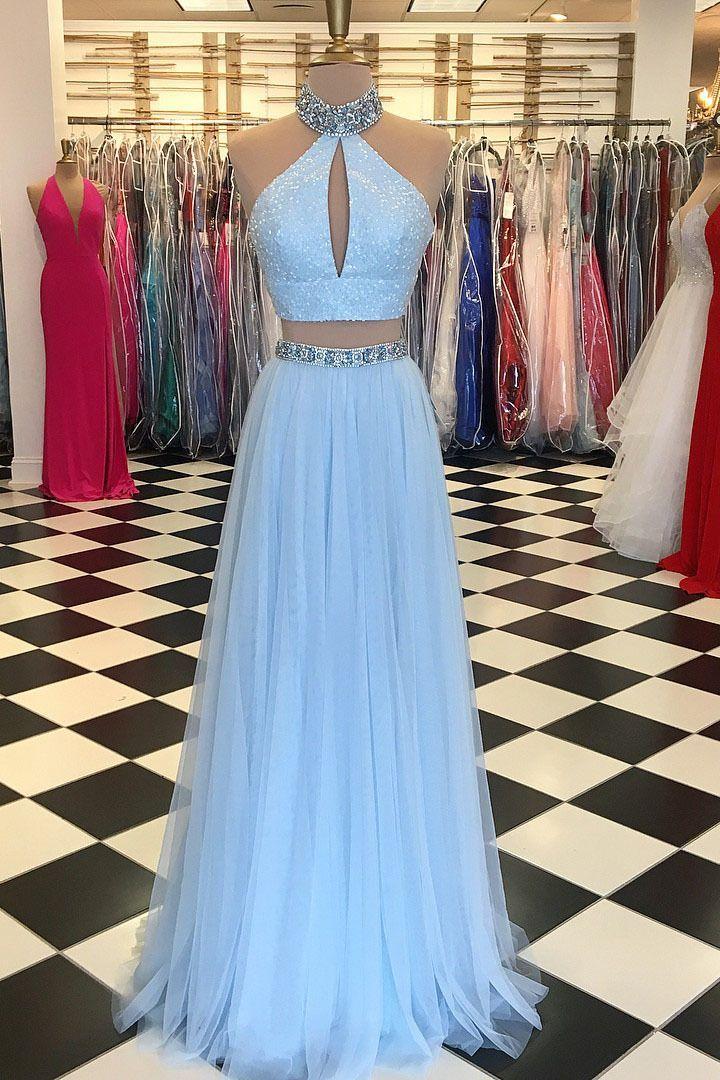 Elegant Two Piece Beaded High Neck Light Sky Blue Long Prom Dress long evening dress 2