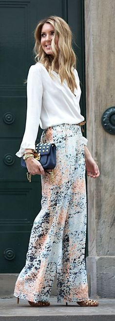 Chic professional look with these printed patterned wide leg palazzo pants. Create a similar look with printed patterned palazzo pants only $17.99.