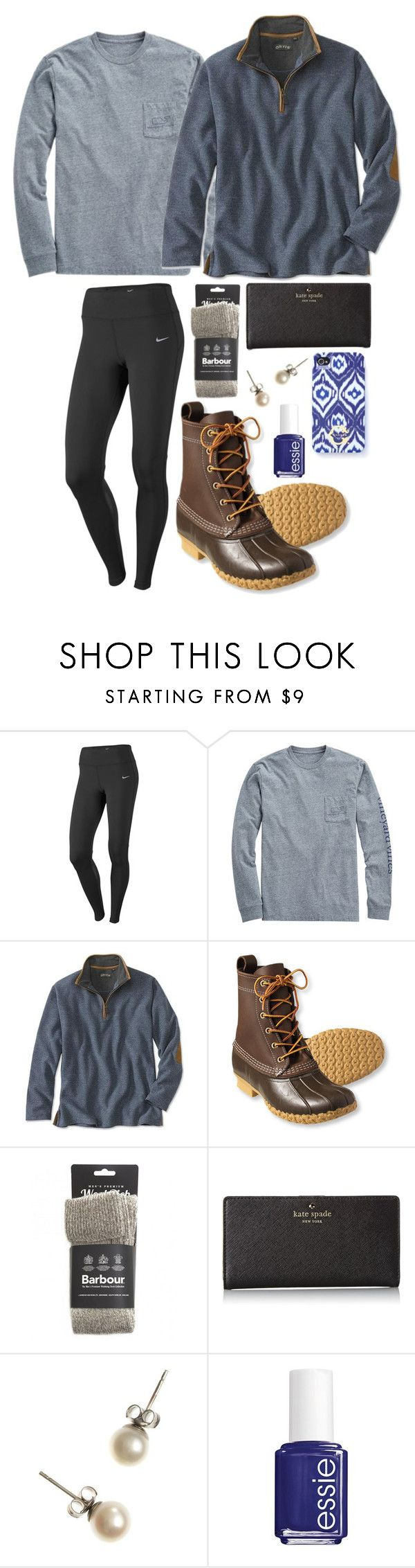 """Sunday errands"" by hbcernuto ❤ liked on Polyvore featuring NIKE, Vineyard Vines, L.L.Bean, Barbour, Kate Spade, J.Crew, C. Wonder and Essie"