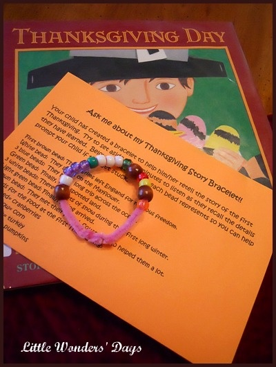 Make a special bracelet to help kids remember story of Thanksgiving.