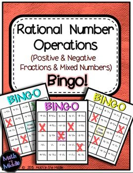 Review adding, subtracting, multiplying, and dividing rational numbers (positive and negative fractions & mixed numbers) with this fun and challenging bingo game!** Please note that this game is also included in my Middle School Math Bingo Bundle and my Rational Number Operations Bundle! **The rational number addition, subtraction, multiplication, and division questions in this game range in difficulty level as some questions contain two positive fractions/mixed numbers and others contain...