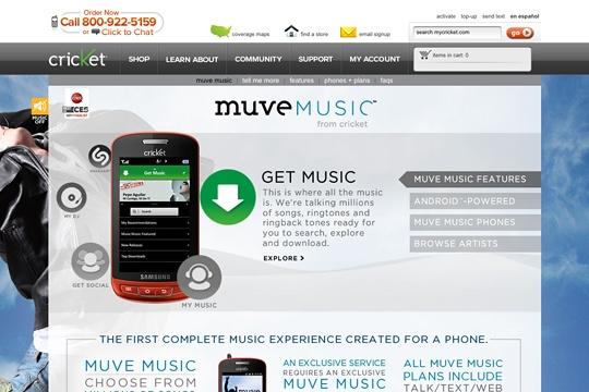 Red Door partnered with Cricket Communications to create a site to unveil and promote their revolutionary and new Muve Music: Internet Site,  Website, Web Site