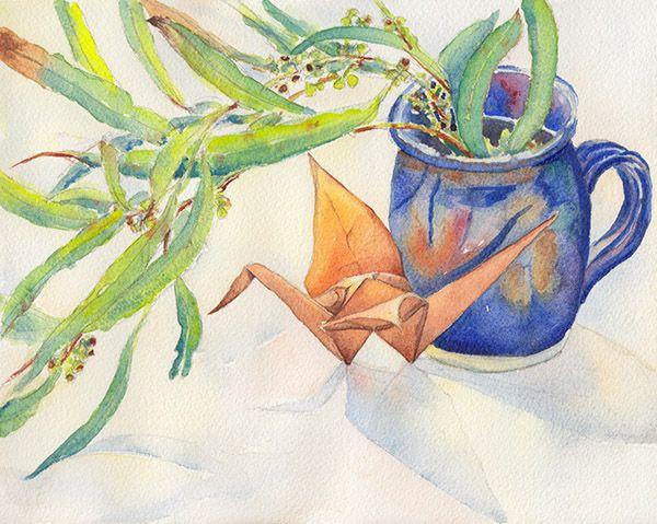 Paper crane #12 by Zoya Makarova  Winsor & Newton watercolours on Arches Medium watercolour paper