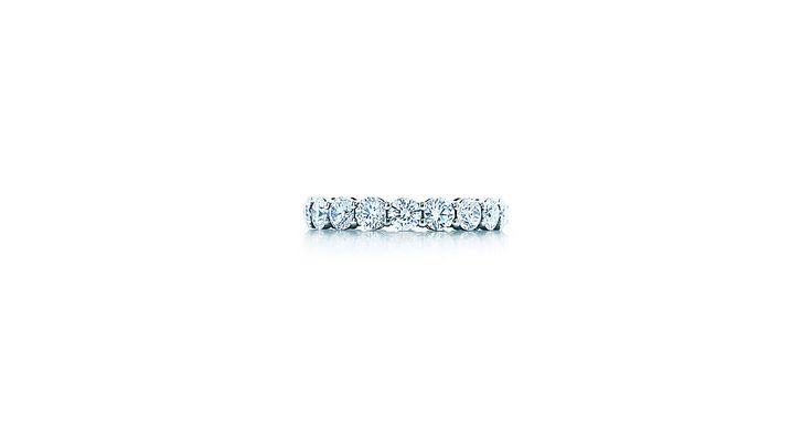 Love this for wedding band and/similar stone size in setting. Tiffany Embrace® band ring in platinum with diamonds, 3.7 mm wide.