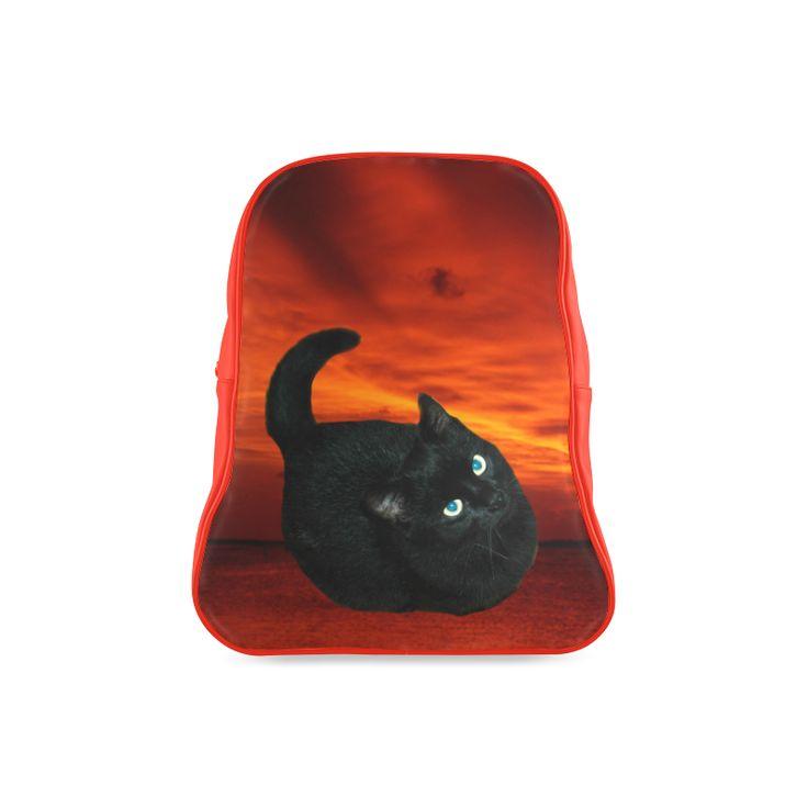 Black Cat School Backpack (Model 1601)(Large)