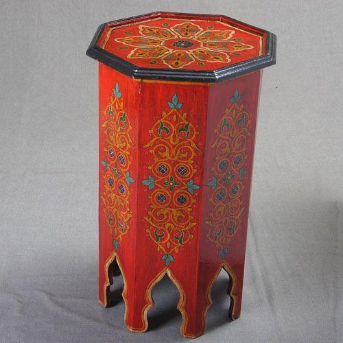 Mesa alta octogonal color rojo envejecido   artesania-marroqui.com