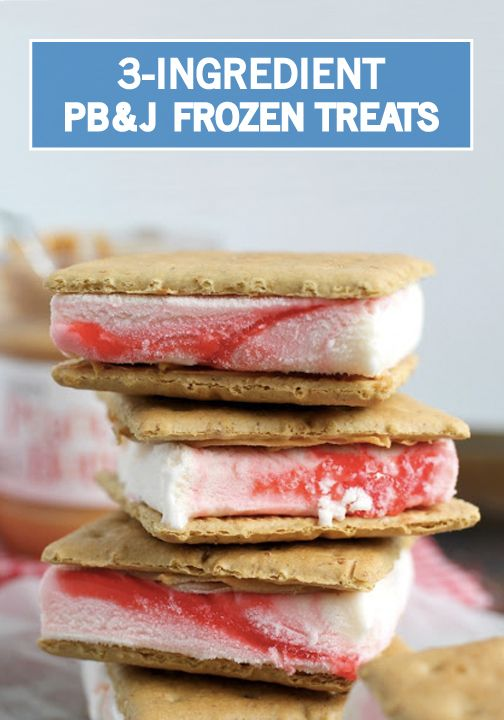 These 3-Ingredient PB&J Frozen Treats from Inspired Gathering are the perfect patriotic treat to enjoy at your Memorial Day barbecue. All you'll need to make these bad boys are a box of graham crackers, strawberry ice cream, and creamy peanut butter—it's that simple!