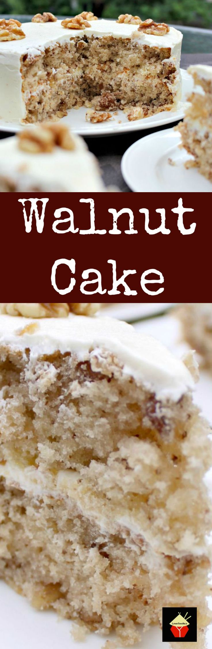 Walnut Cake is a delicious easy recipe. the cake is so soft and fluffy! Recipe also for a lovely vanilla frosting. You can make this as a round cake or a loaf, instructions for both. Freezer friendly too. This would also make a nice cake for Christmas time! | Lovefoodies.com