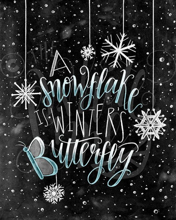 Winter Decor, Christmas Art, Snowflake Print, Chalkboard Art, Chalk Art, A Snowf…