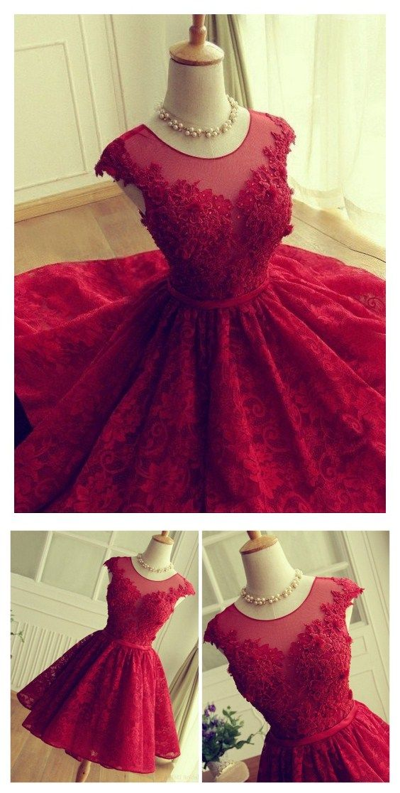 Red Prom Dresses, Short Prom Dresses, hort Lace Prom Dress