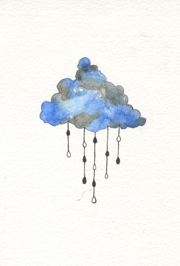 cloud watercolour with pen