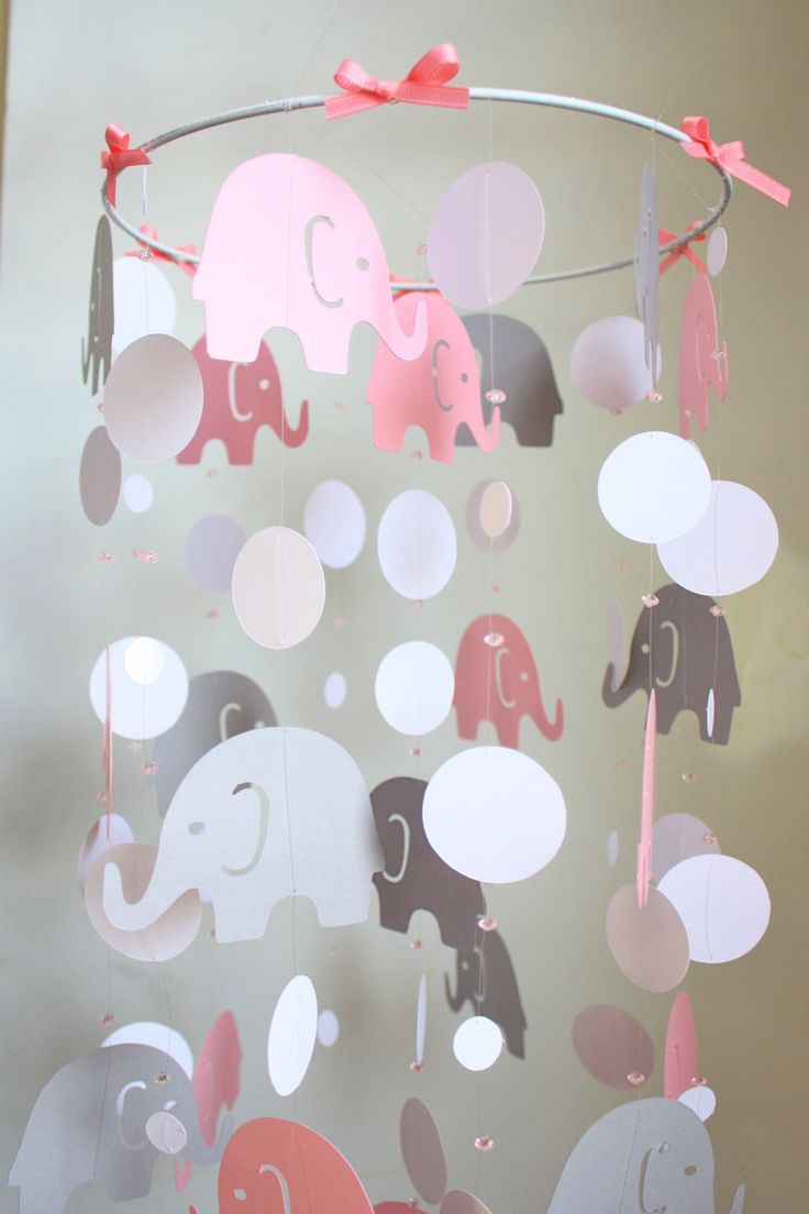 Elephant Baby Mobile Pink Gray Baby Crib To Do Diy