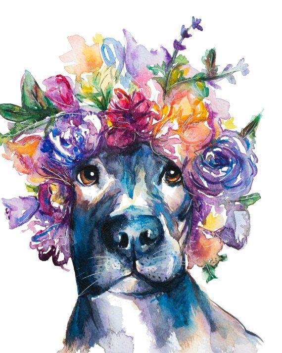 Vibrant Pitbull watercolor painting by EbbAndFlowWatercolor