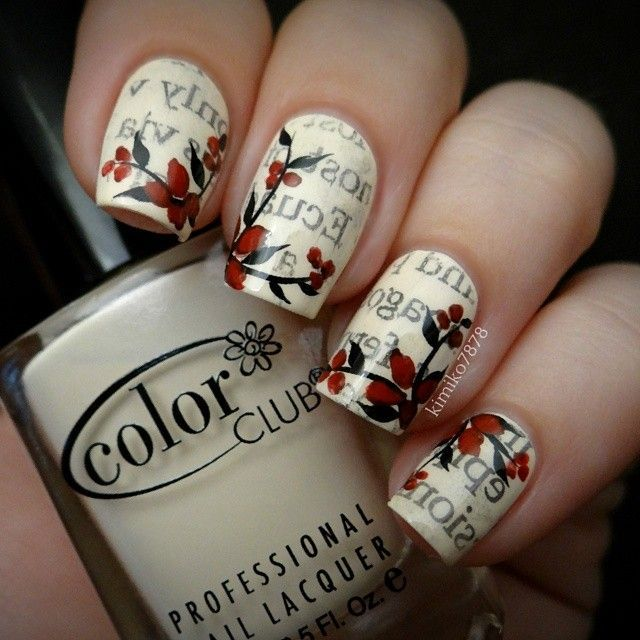 letters and flowers nail art