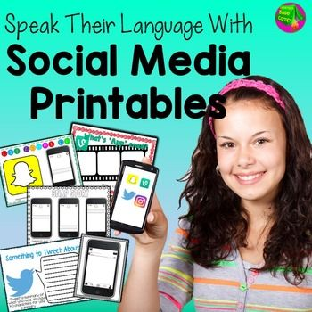 Snapchat, Vine, Instagram and Twitter printable activities.  Speak their language with these social media graphic organizers for pre-teens and teens.