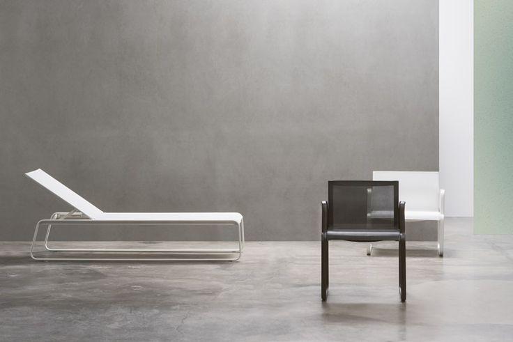 Tumbona de jardín reclinable en acero AIRE OUTDOOR | Tumbona de jardín - Andreu World