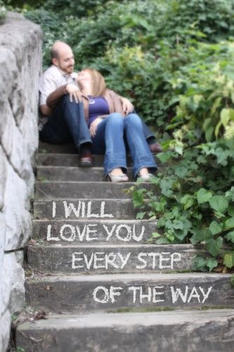 Studio W Photography. Pittsburgh. (not sure about the wording, but I like the steps idea for engagement photo)