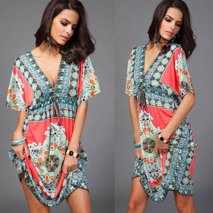 V sexy soft milk silk Boho print midi tribal dresses summer Ethnic casual loose waist Beach Dress