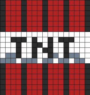 Tnt perler bead pattern bead sprite general pixel art for Minecraft tnt block template
