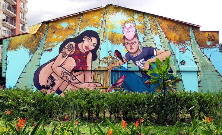 Compañeros en la Libertad!!! Mural realizado junto a Yalus Roms en Medellín, Colombia. Como parte del festival Pictopía 2016.